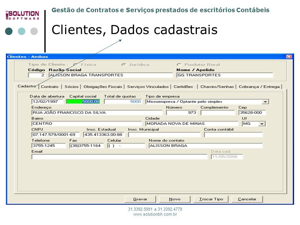 Gestão de Contratos e Serviços prestados de escritórios Contábeis 31.3392.5991 e 31.3392.4779 www.solutionbh.com.br Clientes, Dados cadastrais