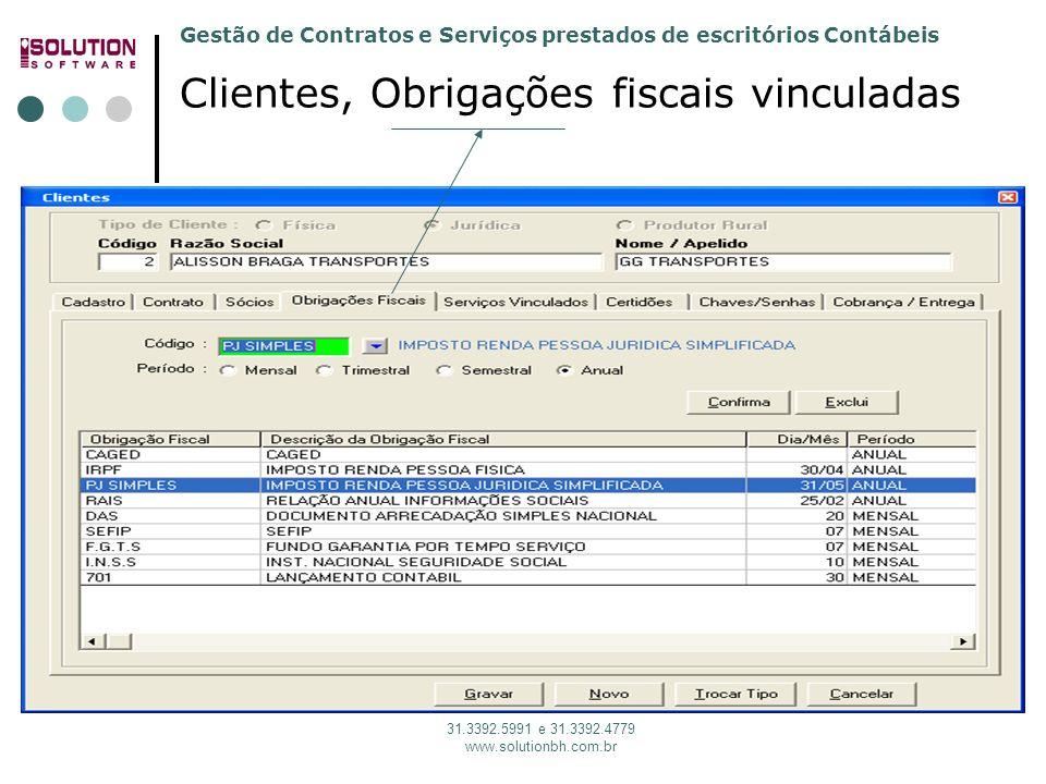 Gestão de Contratos e Serviços prestados de escritórios Contábeis 31.3392.5991 e 31.3392.4779 www.solutionbh.com.br Clientes, Obrigações fiscais vincu