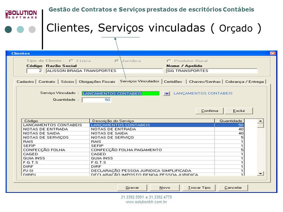 Gestão de Contratos e Serviços prestados de escritórios Contábeis 31.3392.5991 e 31.3392.4779 www.solutionbh.com.br Clientes, Serviços vinculadas ( Orçado )