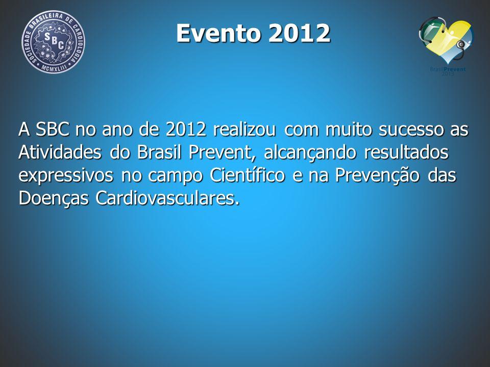 Evento 2012 A SBC no ano de 2012 realizou com muito sucesso as Atividades do Brasil Prevent, alcançando resultados expressivos no campo Científico e n