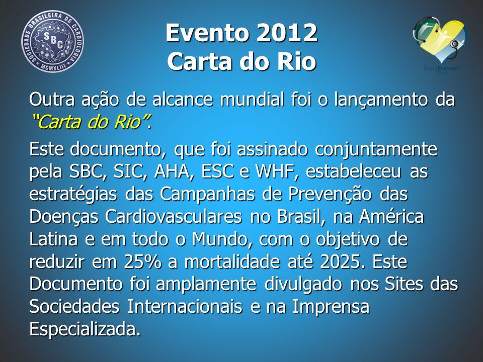Outra ação de alcance mundial foi o lançamento da Carta do Rio. Este documento, que foi assinado conjuntamente pela SBC, SIC, AHA, ESC e WHF, estabele