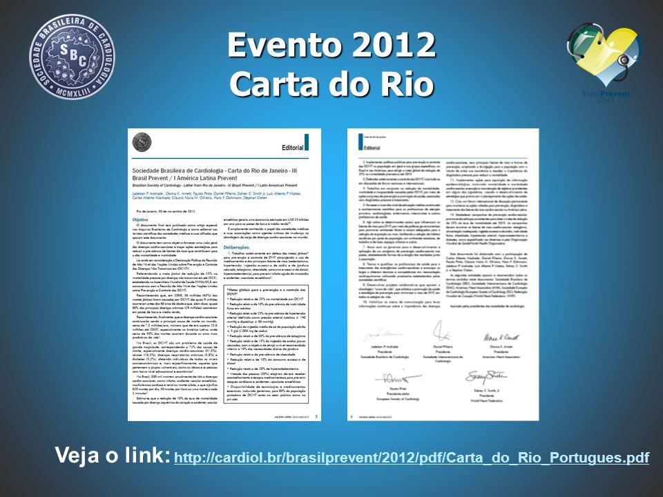 05 A 07/12/2013 - SALVADOR - BA Evento 2013 Curso de Atualização em Doenças Cardiovasculares para Profissionais da Rede Estadual de Saúde da Bahia 05/12/2013 Programação Científica Brasil Prevent – Plenária Principal 06 e 07/12/2013 Fóruns dos Departamentos Especializados da SBC: DHA e DERC 05 e 06/12/2013 Fórum Internacional SBC / ACC – Fibrilação Atrial 05/12/2013