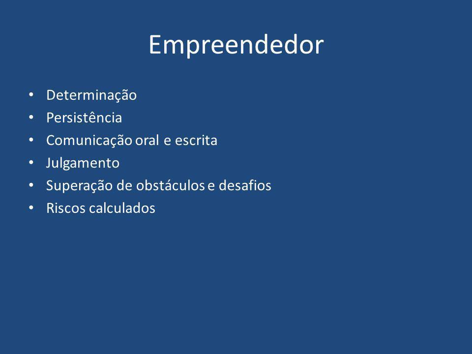 Empreendedor Determinação Persistência Comunicação oral e escrita Julgamento Superação de obstáculos e desafios Riscos calculados