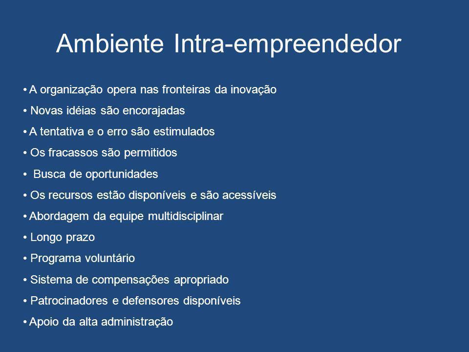 Ambiente Intra-empreendedor A organização opera nas fronteiras da inovação Novas idéias são encorajadas A tentativa e o erro são estimulados Os fracas