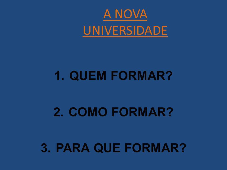 A NOVA UNIVERSIDADE 1.QUEM FORMAR? 2.COMO FORMAR? 3.PARA QUE FORMAR?