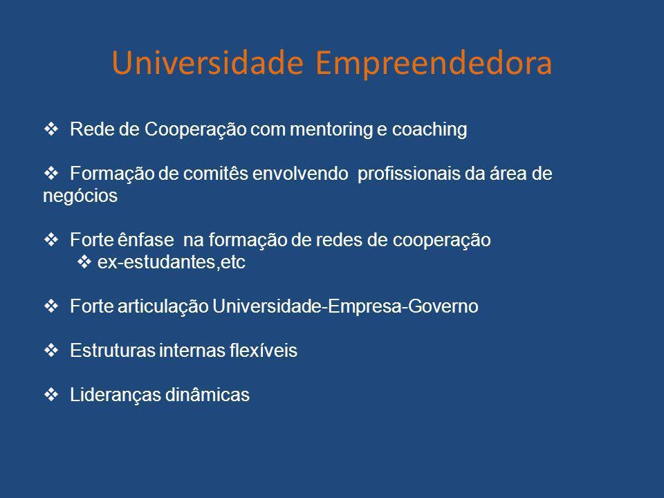 Universidade Empreendedora Rede de Cooperação com mentoring e coaching Formação de comitês envolvendo profissionais da área de negócios Forte ênfase n