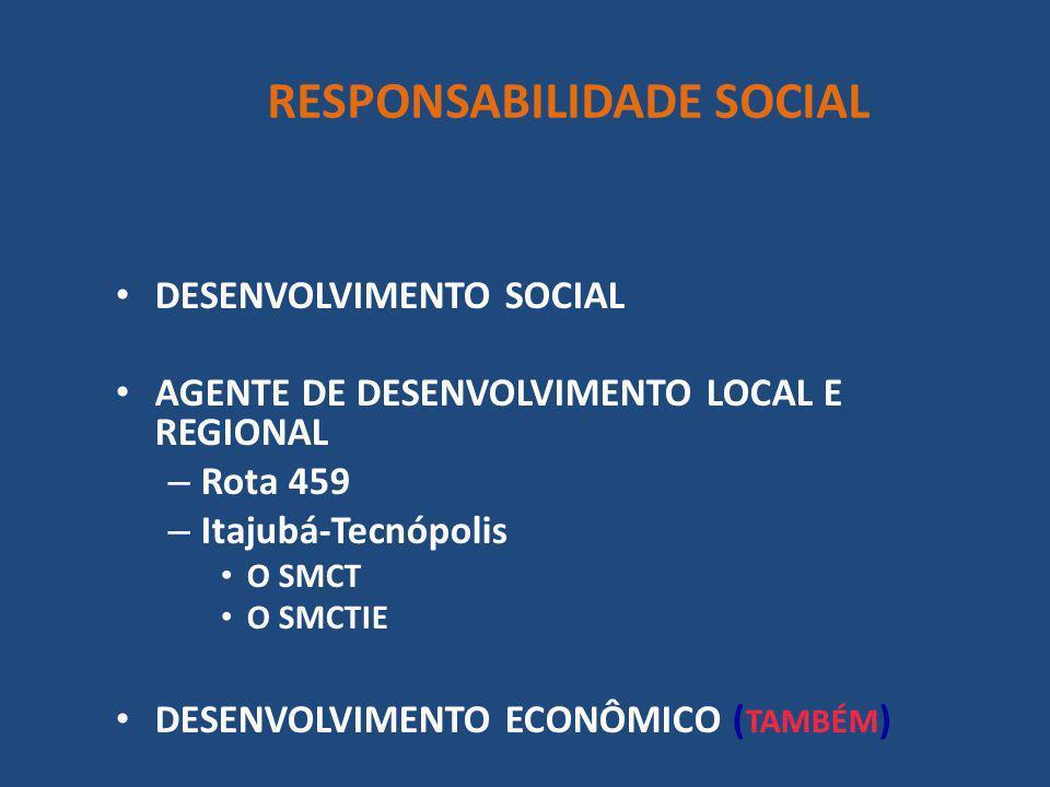 DESENVOLVIMENTO SOCIAL AGENTE DE DESENVOLVIMENTO LOCAL E REGIONAL – Rota 459 – Itajubá-Tecnópolis O SMCT O SMCTIE DESENVOLVIMENTO ECONÔMICO ( TAMBÉM )