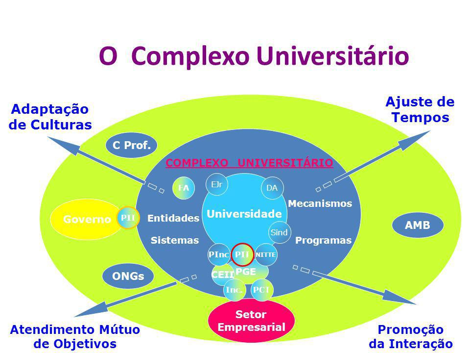 O Complexo Universitário Universidade EJr Sind DAFA PGE Programas Mecanismos Governo Setor Empresarial Entidades Atendimento Mútuo de Objetivos Promoç