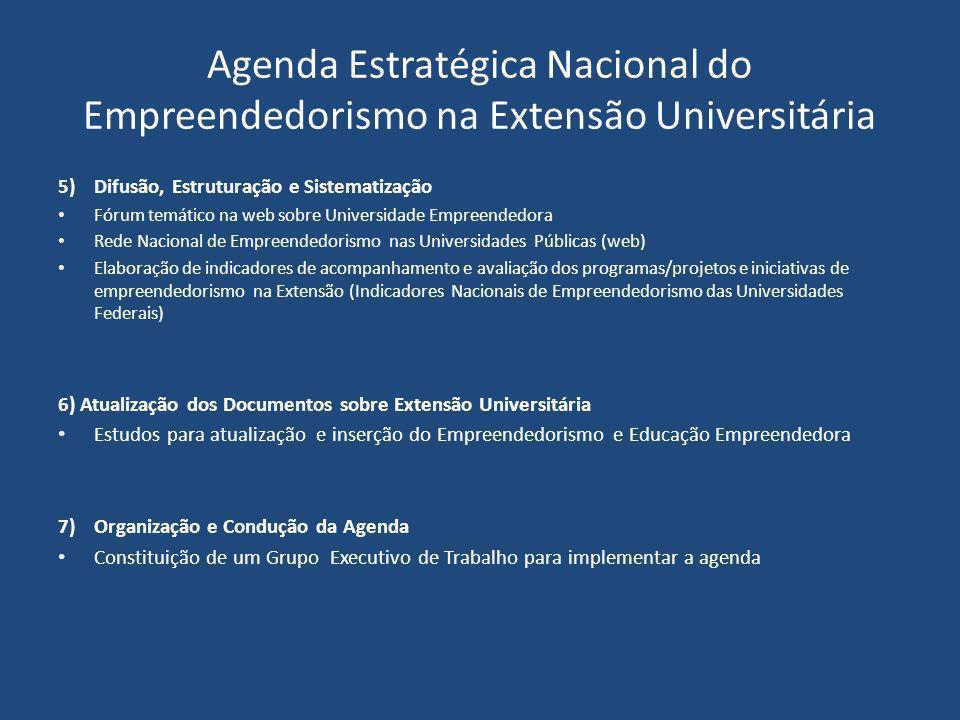 Agenda Estratégica Nacional do Empreendedorismo na Extensão Universitária 5)Difusão, Estruturação e Sistematização Fórum temático na web sobre Univers