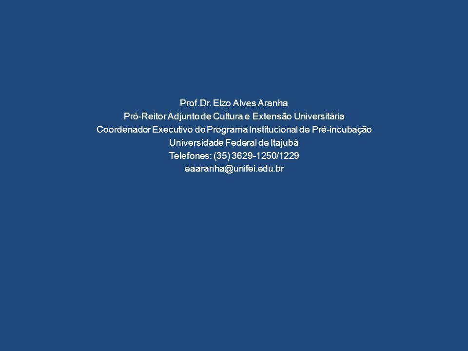 Prof.Dr. Elzo Alves Aranha Pró-Reitor Adjunto de Cultura e Extensão Universitária Coordenador Executivo do Programa Institucional de Pré-incubação Uni