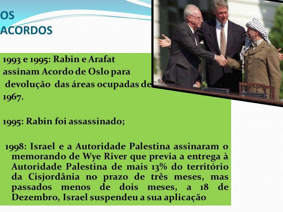 OS ACORDOS 1993 e 1995: Rabin e Arafat assinam Acordo de Oslo para devolução das áreas ocupadas desde 1967. 1995: Rabin foi assassinado; 1998: Israel