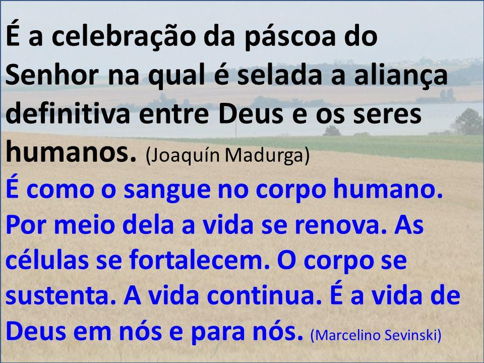 É a celebração da páscoa do Senhor na qual é selada a aliança definitiva entre Deus e os seres humanos. (Joaquín Madurga) É como o sangue no corpo hum