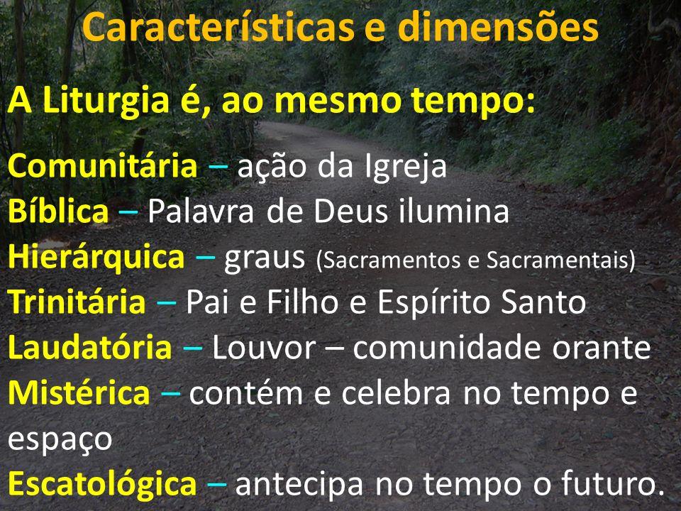 Características e dimensões A Liturgia é, ao mesmo tempo: Comunitária – ação da Igreja Bíblica – Palavra de Deus ilumina Hierárquica – graus (Sacramen