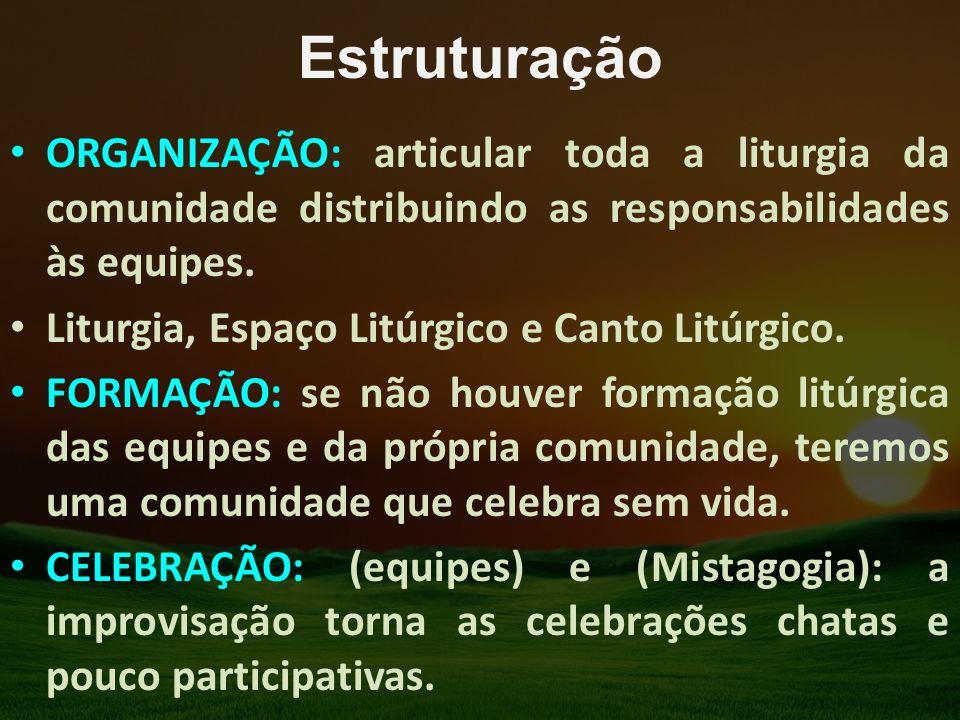 Estruturação ORGANIZAÇÃO: articular toda a liturgia da comunidade distribuindo as responsabilidades às equipes. Liturgia, Espaço Litúrgico e Canto Lit