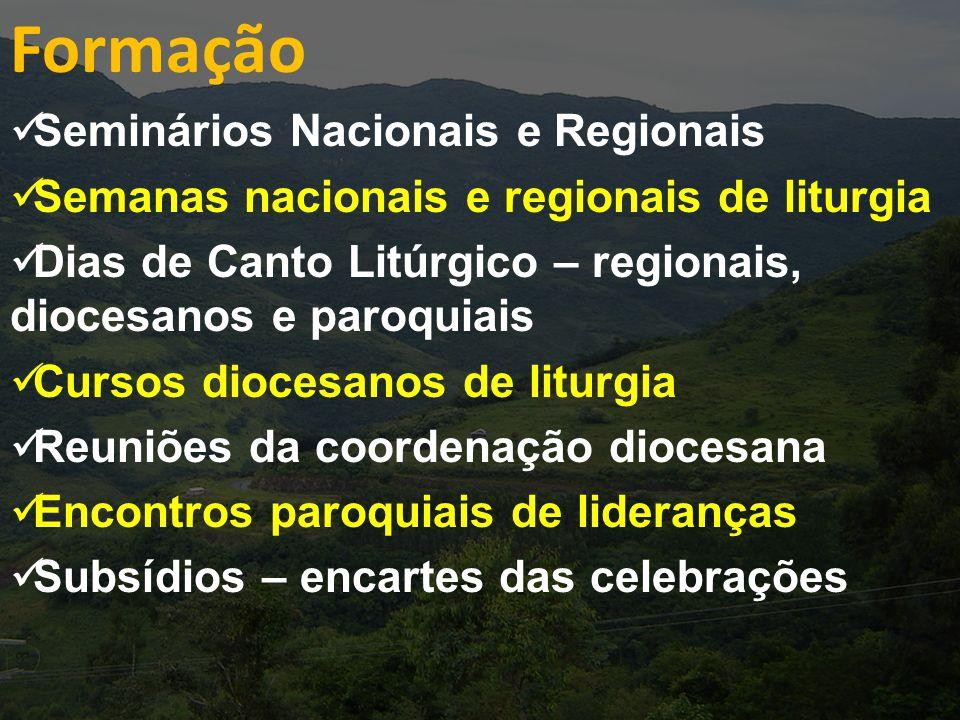 Formação Seminários Nacionais e Regionais Semanas nacionais e regionais de liturgia Dias de Canto Litúrgico – regionais, diocesanos e paroquiais Curso