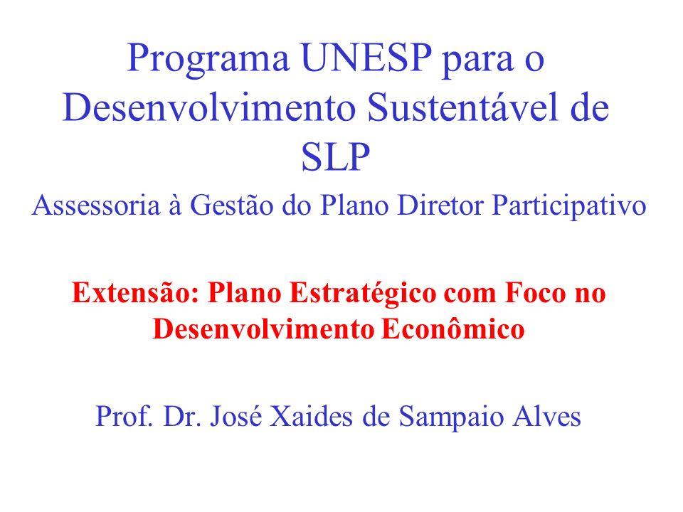 Programa UNESP para o Desenvolvimento Sustentável de SLP Assessoria à Gestão do Plano Diretor Participativo Extensão: Plano Estratégico com Foco no De