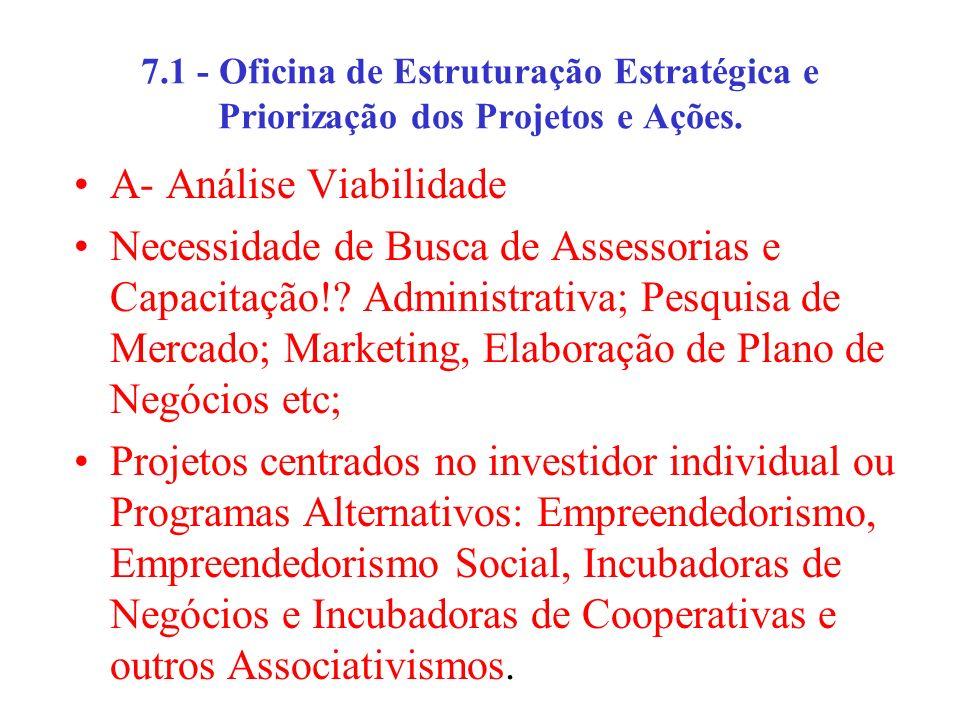 7.1 - Oficina de Estruturação Estratégica e Priorização dos Projetos e Ações. A- Análise Viabilidade Necessidade de Busca de Assessorias e Capacitação