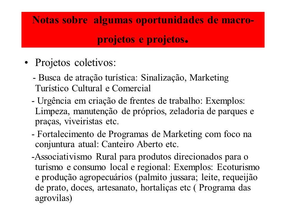 Notas sobre algumas oportunidades de macro- projetos e projetos. Projetos coletivos: - Busca de atração turística: Sinalização, Marketing Turístico Cu