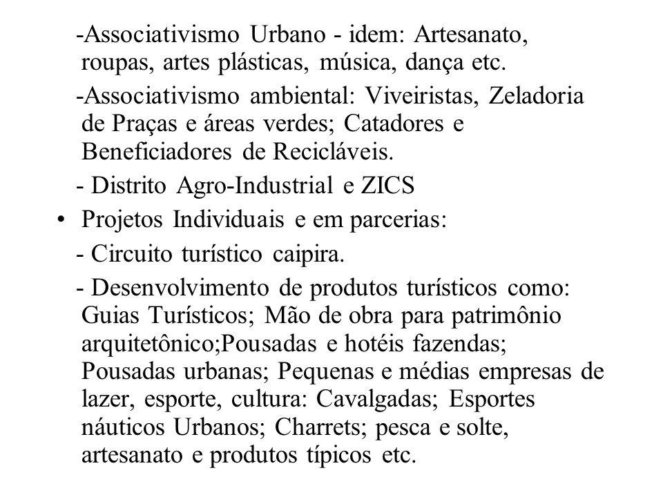 -Associativismo Urbano - idem: Artesanato, roupas, artes plásticas, música, dança etc. -Associativismo ambiental: Viveiristas, Zeladoria de Praças e á