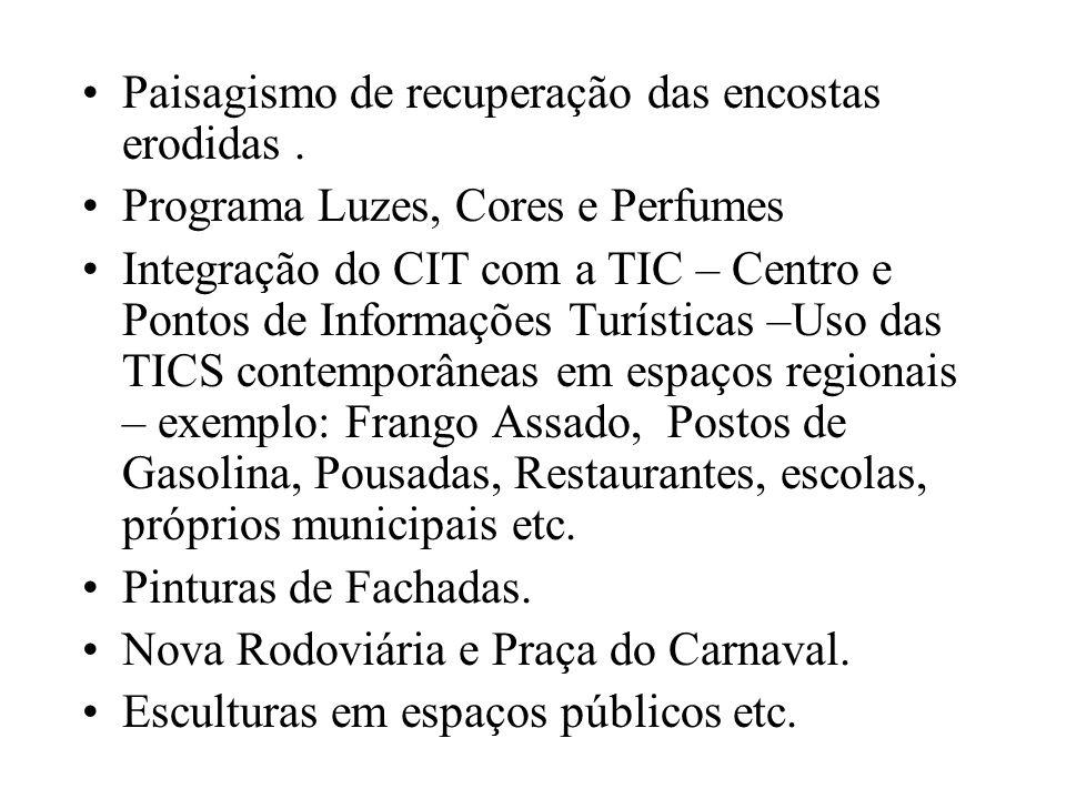Paisagismo de recuperação das encostas erodidas. Programa Luzes, Cores e Perfumes Integração do CIT com a TIC – Centro e Pontos de Informações Turísti