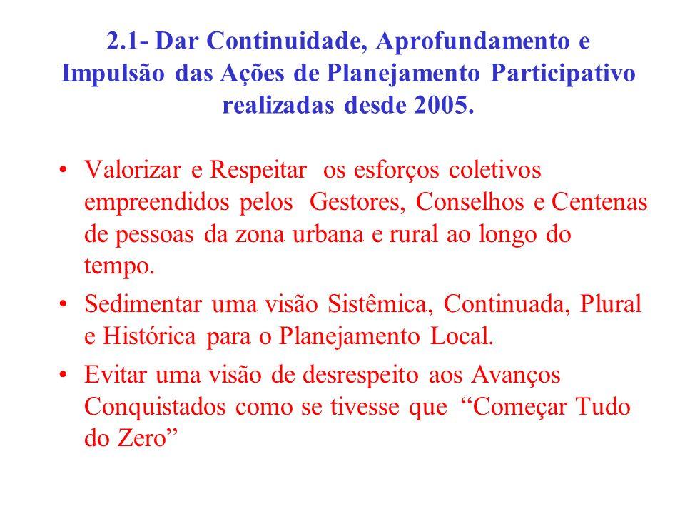 2.1- Dar Continuidade, Aprofundamento e Impulsão das Ações de Planejamento Participativo realizadas desde 2005. Valorizar e Respeitar os esforços cole