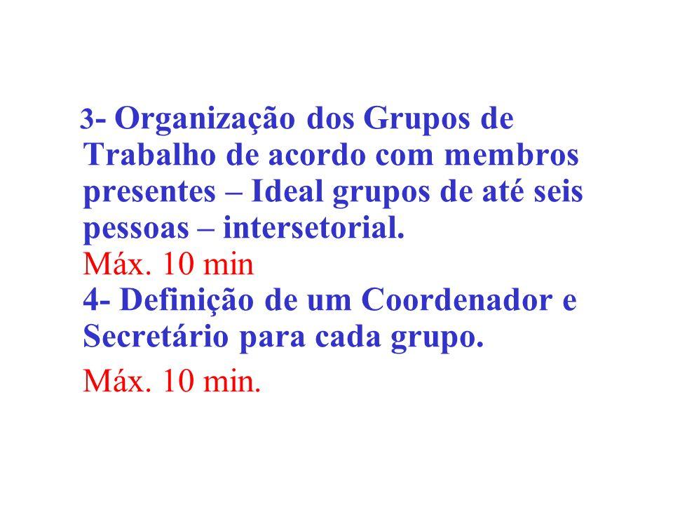 3 - Organização dos Grupos de Trabalho de acordo com membros presentes – Ideal grupos de até seis pessoas – intersetorial. Máx. 10 min 4- Definição de