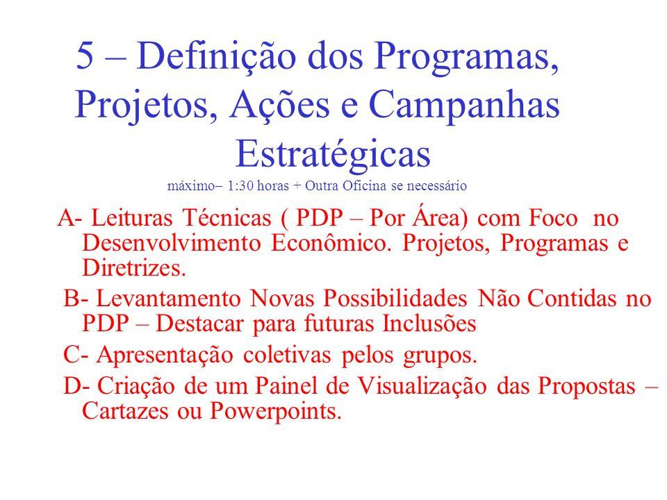 5 – Definição dos Programas, Projetos, Ações e Campanhas Estratégicas máximo– 1:30 horas + Outra Oficina se necessário A- Leituras Técnicas ( PDP – Po