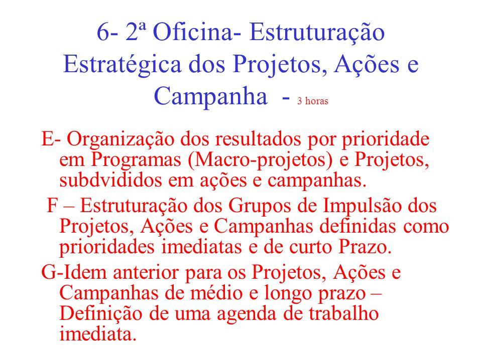 6- 2ª Oficina- Estruturação Estratégica dos Projetos, Ações e Campanha - 3 horas E- Organização dos resultados por prioridade em Programas (Macro-proj