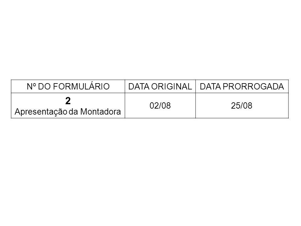 Nº DO FORMULÁRIODATA ORIGINALDATA PRORROGADA 2 Apresentação da Montadora 02/0825/08
