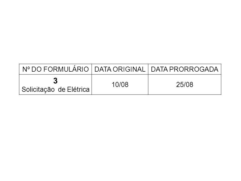 Nº DO FORMULÁRIODATA ORIGINALDATA PRORROGADA 3 Solicitação de Elétrica 10/0825/08
