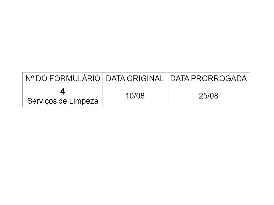 Nº DO FORMULÁRIODATA ORIGINALDATA PRORROGADA 4 Serviços de Limpeza 10/0825/08