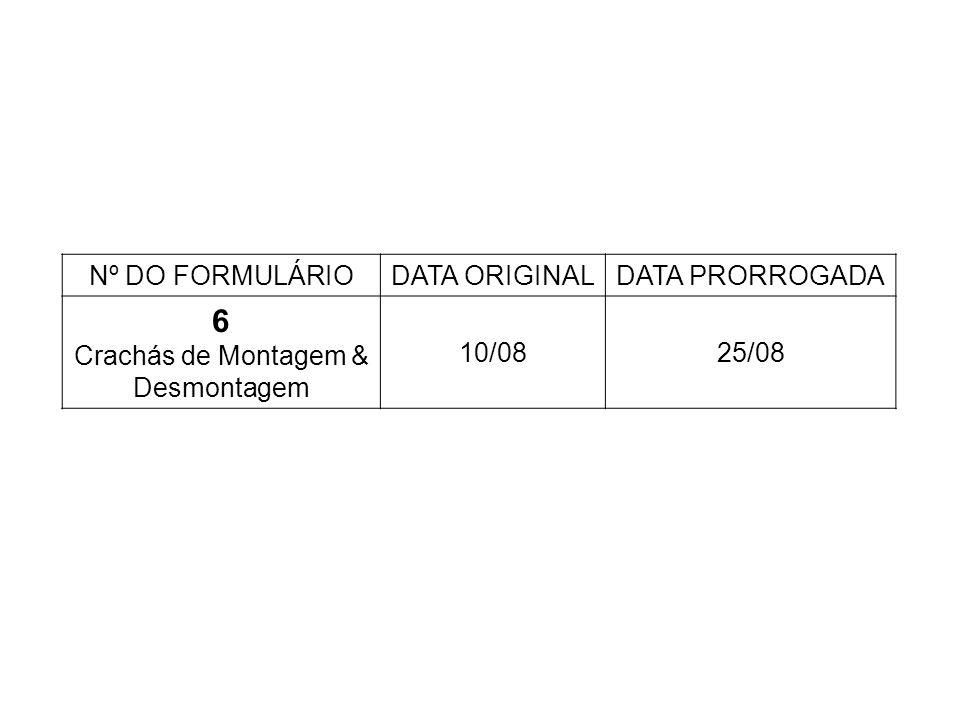 Nº DO FORMULÁRIODATA ORIGINALDATA PRORROGADA 6 Crachás de Montagem & Desmontagem 10/0825/08