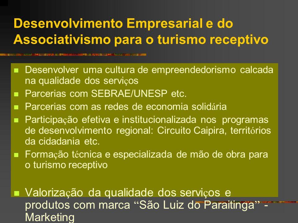 Desenvolvimento Empresarial e do Associativismo para o turismo receptivo Desenvolver uma cultura de empreendedorismo calcada na qualidade dos servi ç