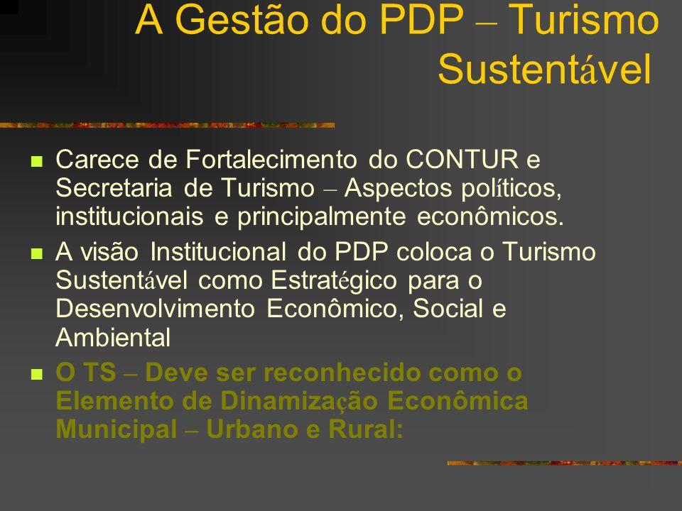 A Gestão do PDP – Turismo Sustent á vel Carece de Fortalecimento do CONTUR e Secretaria de Turismo – Aspectos pol í ticos, institucionais e principalm