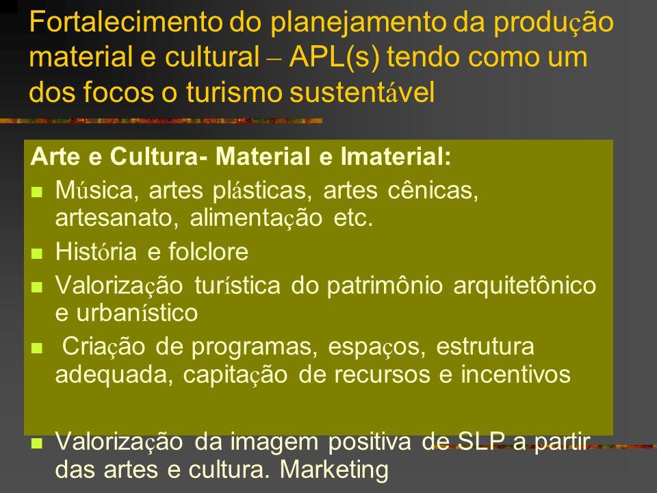 Fortalecimento do planejamento da produ ç ão material e cultural – APL(s) tendo como um dos focos o turismo sustent á vel Arte e Cultura- Material e I