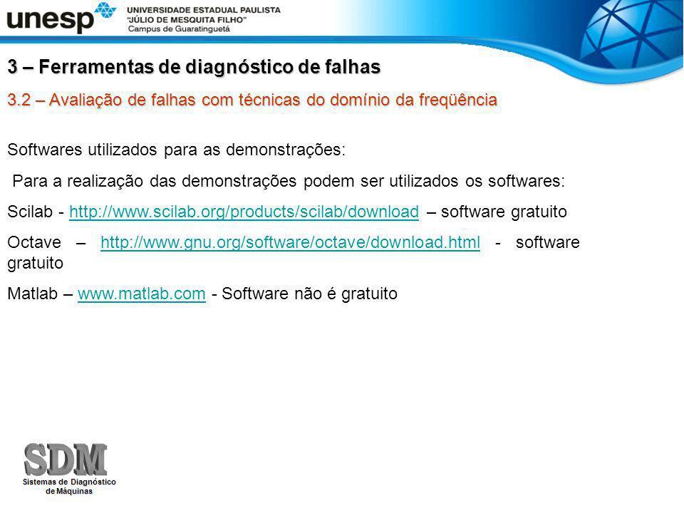 3.2 – Avaliação de falhas com técnicas do domínio da freqüência Softwares utilizados para as demonstrações: Para a realização das demonstrações podem