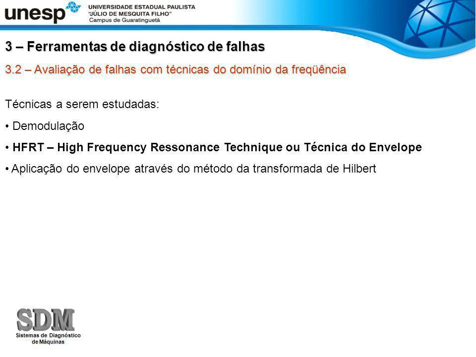3.2 – Avaliação de falhas com técnicas do domínio da freqüência Técnicas a serem estudadas: Demodulação HFRT – High Frequency Ressonance Technique ou