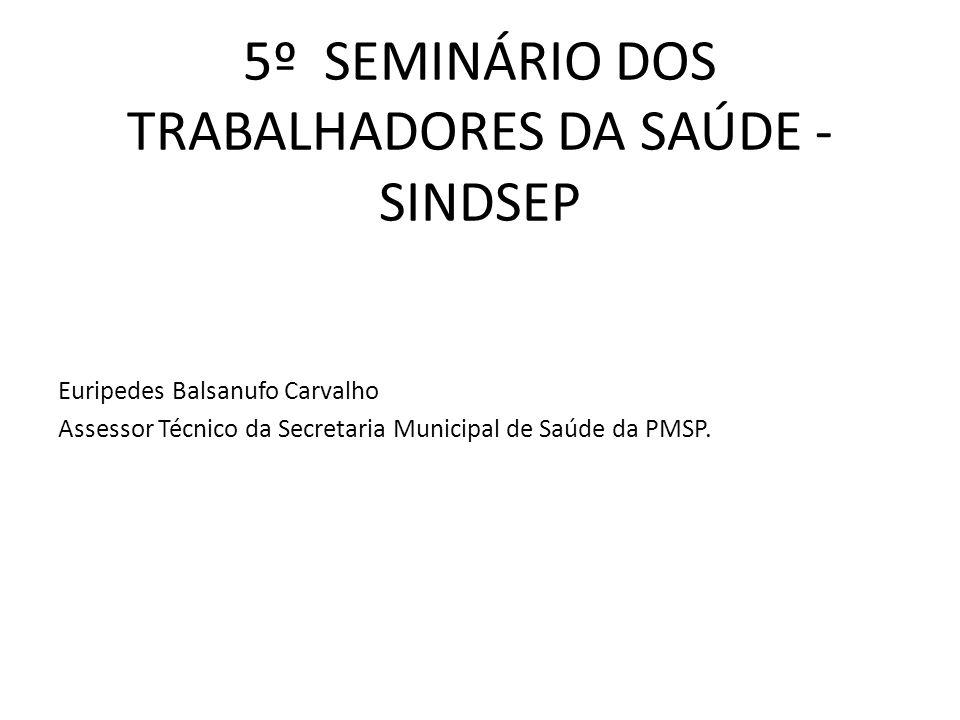 5º SEMINÁRIO DOS TRABALHADORES DA SAÚDE - SINDSEP Euripedes Balsanufo Carvalho Assessor Técnico da Secretaria Municipal de Saúde da PMSP.