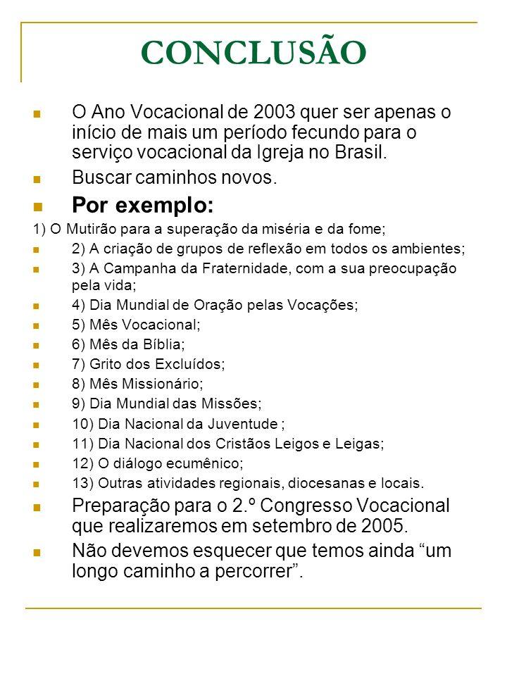 CONCLUSÃO O Ano Vocacional de 2003 quer ser apenas o início de mais um período fecundo para o serviço vocacional da Igreja no Brasil. Buscar caminhos