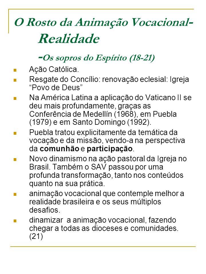 O Rosto da Animação Vocacional - Realidade - Os sopros do Espírito (18-21) Ação Católica. Resgate do Concílio: renovação eclesial: Igreja Povo de Deus