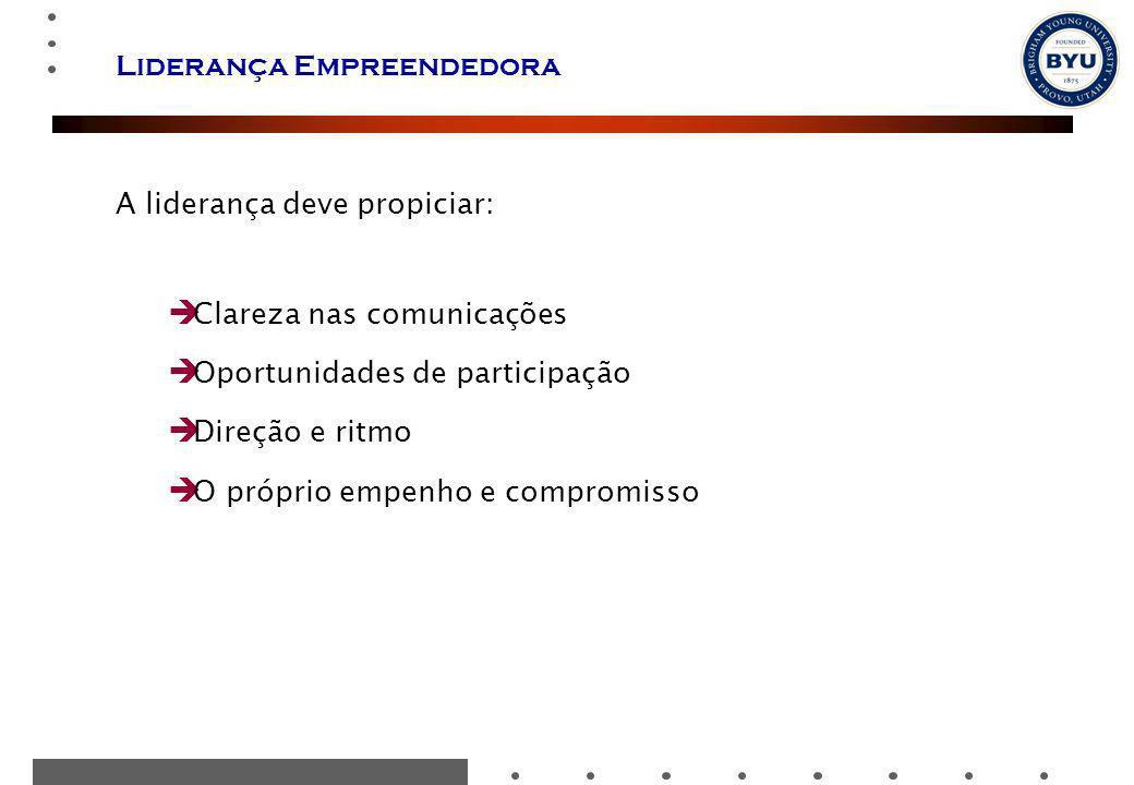 Liderança Empreendedora A liderança deve propiciar: Clareza nas comunicações Oportunidades de participação Direção e ritmo O próprio empenho e comprom