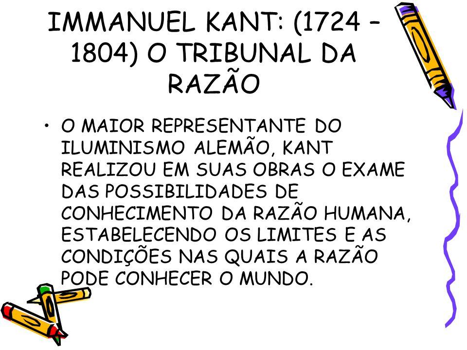 IMMANUEL KANT: (1724 – 1804) O TRIBUNAL DA RAZÃO O MAIOR REPRESENTANTE DO ILUMINISMO ALEMÃO, KANT REALIZOU EM SUAS OBRAS O EXAME DAS POSSIBILIDADES DE CONHECIMENTO DA RAZÃO HUMANA, ESTABELECENDO OS LIMITES E AS CONDIÇÕES NAS QUAIS A RAZÃO PODE CONHECER O MUNDO.