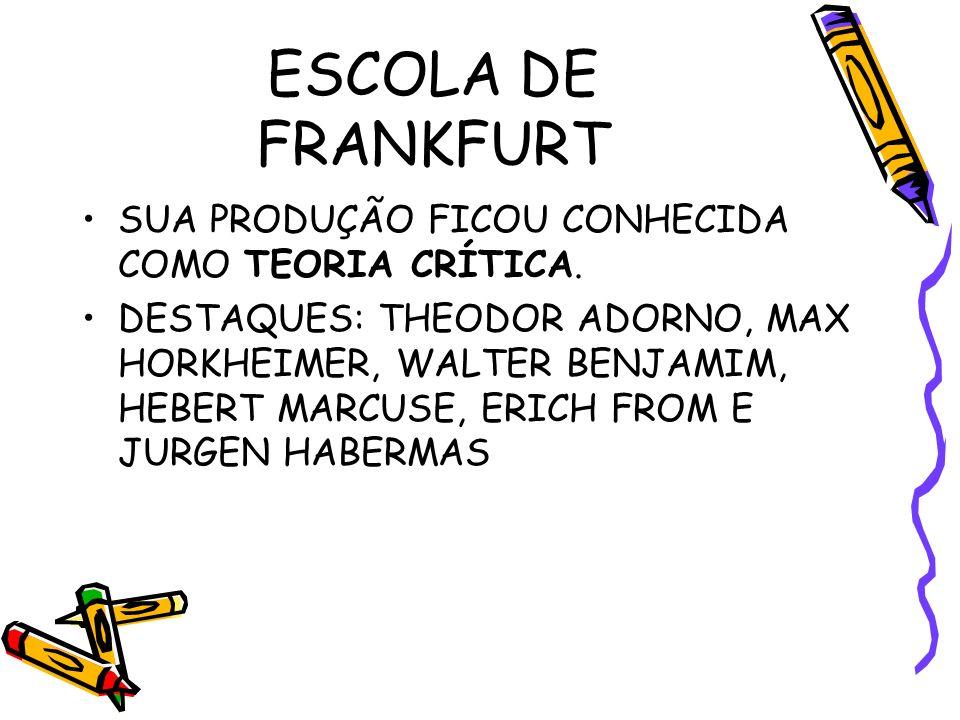 ESCOLA DE FRANKFURT SUA PRODUÇÃO FICOU CONHECIDA COMO TEORIA CRÍTICA.