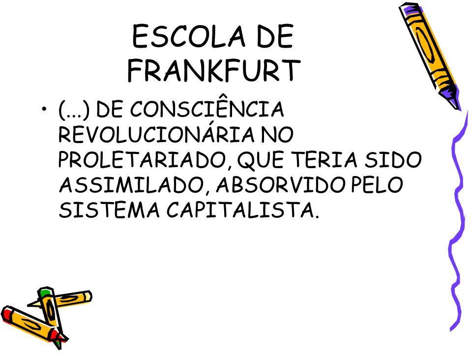ESCOLA DE FRANKFURT (...) DE CONSCIÊNCIA REVOLUCIONÁRIA NO PROLETARIADO, QUE TERIA SIDO ASSIMILADO, ABSORVIDO PELO SISTEMA CAPITALISTA.