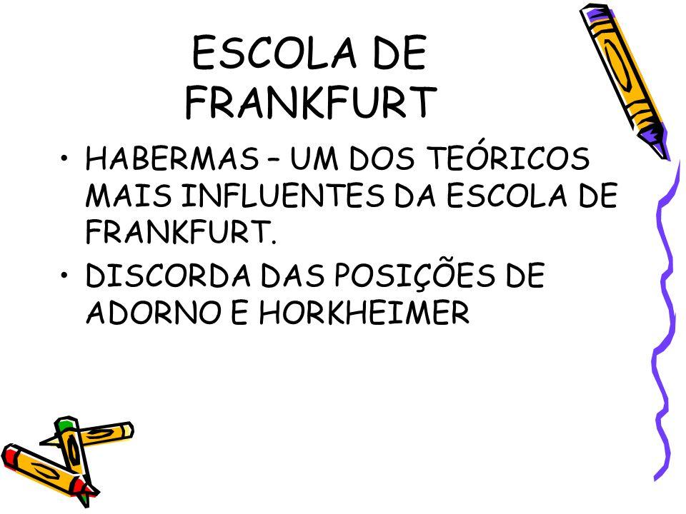 HABERMAS – UM DOS TEÓRICOS MAIS INFLUENTES DA ESCOLA DE FRANKFURT.