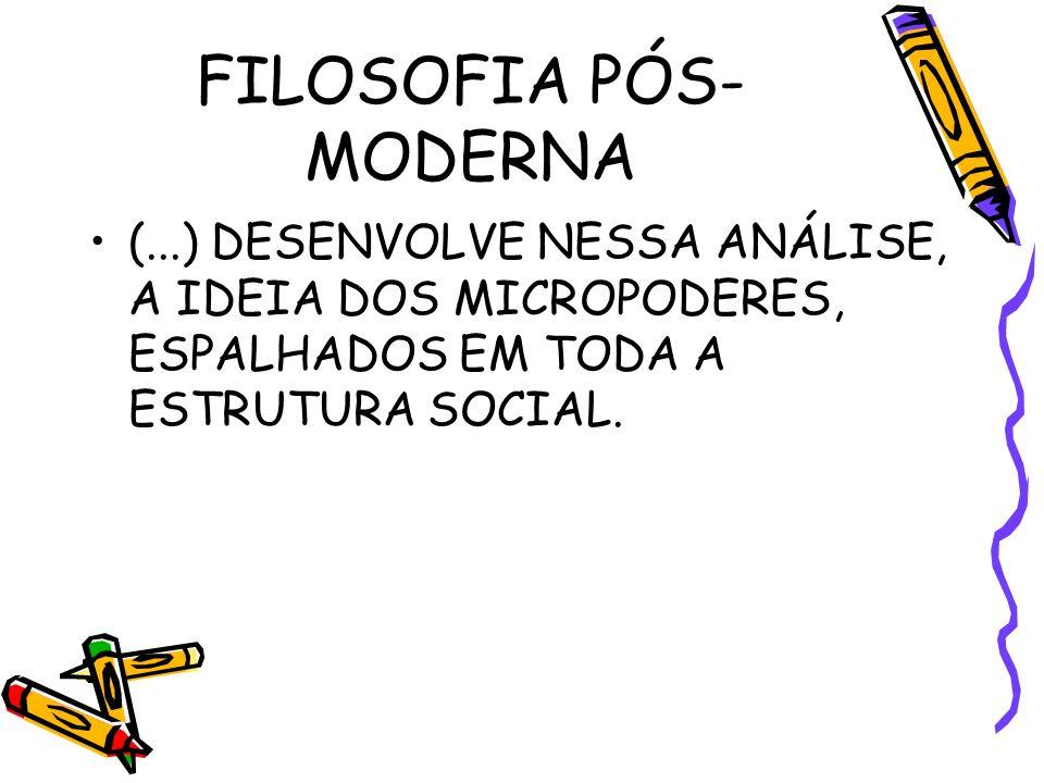 FILOSOFIA PÓS- MODERNA (...) DESENVOLVE NESSA ANÁLISE, A IDEIA DOS MICROPODERES, ESPALHADOS EM TODA A ESTRUTURA SOCIAL.