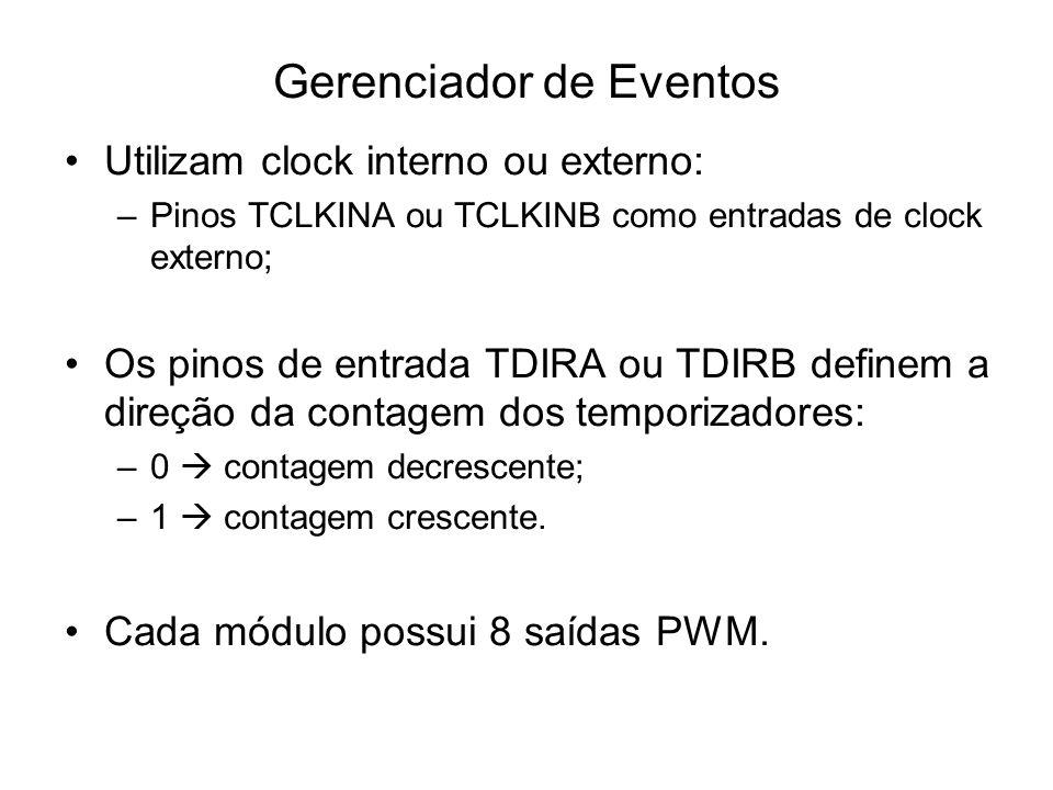 Gerenciador de Eventos Utilizam clock interno ou externo: –Pinos TCLKINA ou TCLKINB como entradas de clock externo; Os pinos de entrada TDIRA ou TDIRB