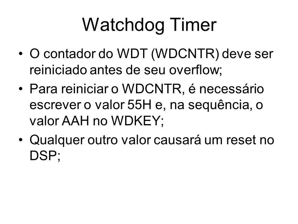O contador do WDT (WDCNTR) deve ser reiniciado antes de seu overflow; Para reiniciar o WDCNTR, é necessário escrever o valor 55H e, na sequência, o va