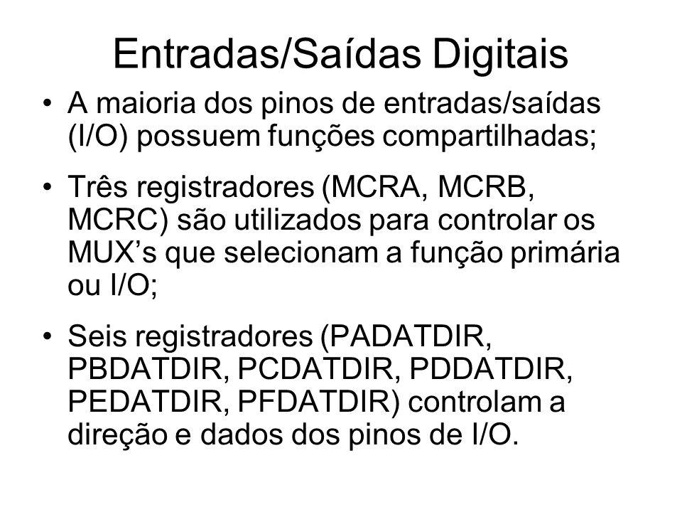 Entradas/Saídas Digitais A maioria dos pinos de entradas/saídas (I/O) possuem funções compartilhadas; Três registradores (MCRA, MCRB, MCRC) são utiliz