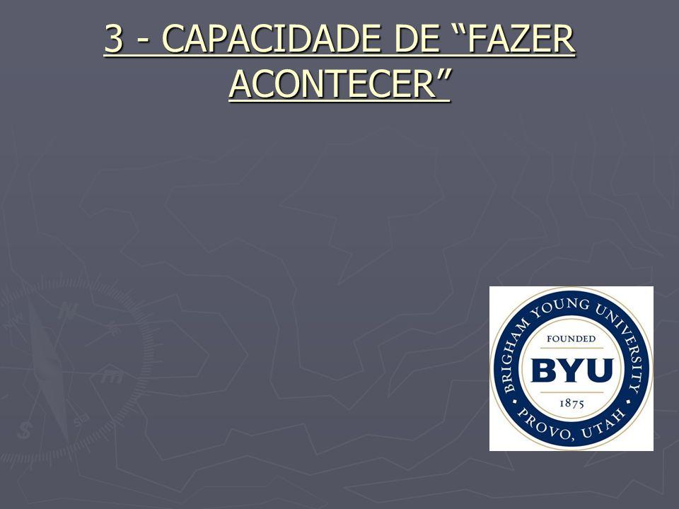 CAPACIDADE DE FAZER ACONTECER BOAS IDÉIAS NÃO GERAM RESULTADOS.